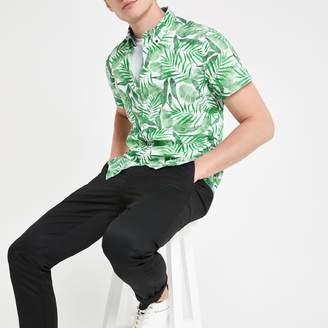 River Island Mens Pepe Jeans Green tropical print shirt