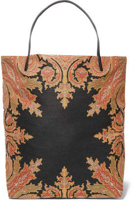 Etro Reversible Leather-trimmed Cotton-blend Canvas Tote - Black