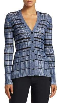 Proenza Schouler Metallic Striped Silk-Blend Cardigan