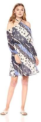 Paris Sunday Women's Long Sleeve Cold Shoulder Y Neck a-Line Short Dress