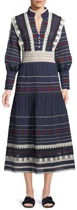Sea Ila V-Neck Long-Sleeve Embroidered Lace Maxi Dress