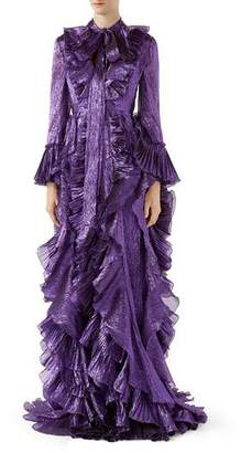 Gucci Iridescent Organdy Gown with Ruffles