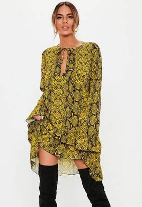 Missguided Yellow Snake Print Tie Neck Smock Dress