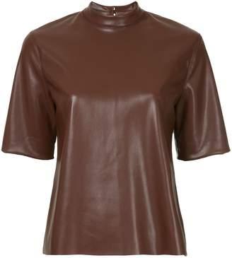 Nanushka faux leather mock neck T-shirt