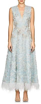 J. Mendel Women's Feather-Trimmed Beaded Silk Cocktail Dress