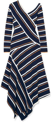 Cédric Charlier Asymmetric Striped Metallic Knitted Midi Dress - Navy