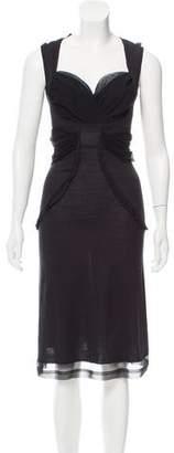 CNC Costume National Silk Mesh-Trimmed Dress