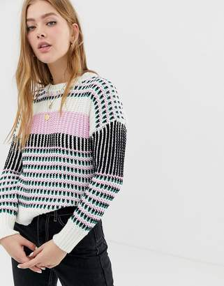 Only contrast stitch cable sweater
