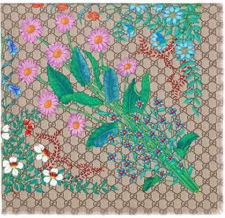 Gucci New Flora print GG silk scarf