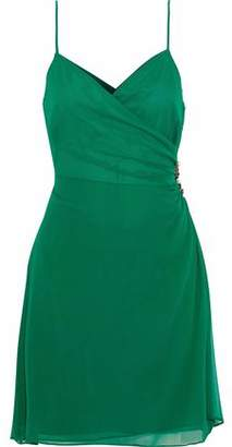 Cinq à Sept Embellished Ruched Silk-Crepe Mini Dress