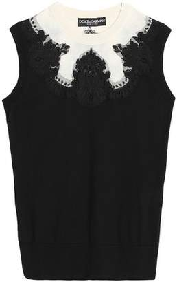 Dolce & Gabbana Lace-Trimmed Silk-Knit Top