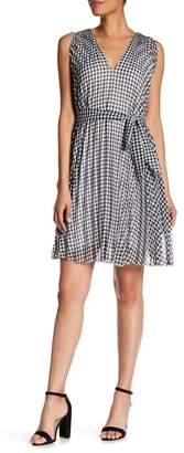 Max Studio Crinkle Chiffon Check Dress