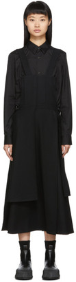 Yohji Yamamoto Black Bibbed Patched Suspender Skirt
