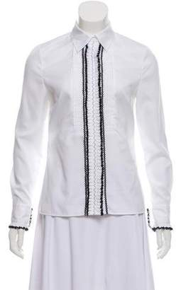 ALICE by Temperley Lace Trimmed Tuxedo Top