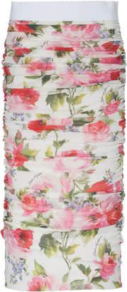 Dolce & Gabbana Ruched Floral-Print Silk Midi Skirt