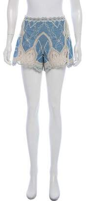 Jonathan Simkhai Embroidered High-Rise Mini Shorts