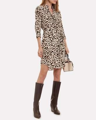 L'Agence Stella Leopard Silk Shirt Dress