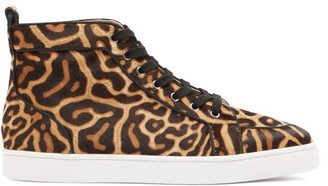 Christian Louboutin Rantus Orlato High Top Calf Hair Trainers - Mens - Black Brown