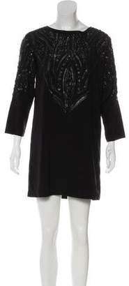 Nicole Miller Sequin Long Sleeve Mini Dress