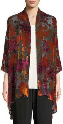 Caroline Rose Evening Bouquet Velvet Burnout Cardigan