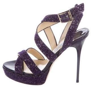 Jimmy Choo Glitter Crossover Sandals