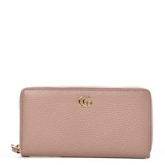 Gucci Marmont Wallet Continental Zip GG Dusty Pink