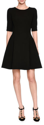 Dolce & Gabbana Elbow-Sleeve Fit-and-Flare Dress, Black $2,595 thestylecure.com