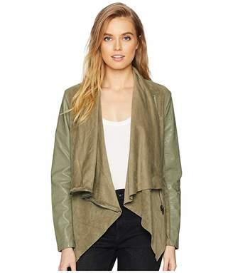 Blank NYC Faux Suede Drape Front Jacket in Olive