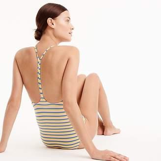 J.Crew T-back one-piece swimsuit in sunshine stripe