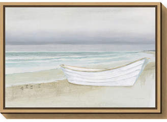 Amanti Art Serene Seaside with Boat by James Wiens Canvas Framed Art
