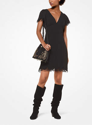 Michael Kors Scalloped-Trim Crepe Dress
