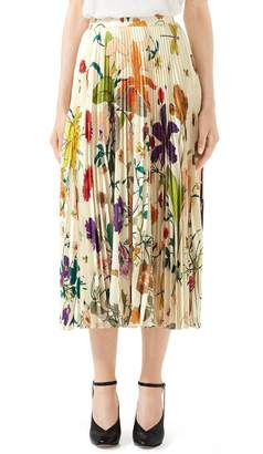 Gucci Gothic Floral Print Pleated Silk Twill Midi Skirt