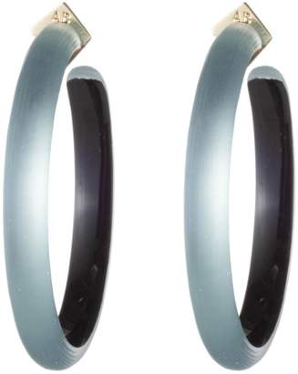Alexis Bittar Retro Gold Collection Large Lucite R Hoop Earrings