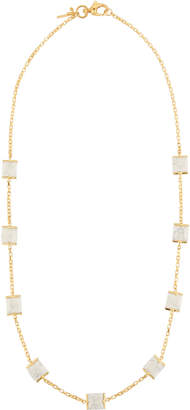 Lele Sadoughi Long Rosary Cube Necklace, White