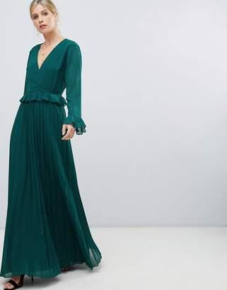 Asos Design DESIGN pleated wrap maxi dress with ruffle