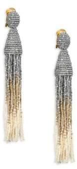 Oscar de la Renta Long Ombre Beaded Drop Earrings