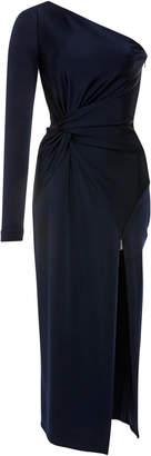 Cushnie et Ochs Poppy One-Shoulder Knotted Stretch-Crepe Midi Dress