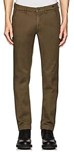 Barneys New York MEN'S COTTON TWILL CHINOS-GREEN SIZE 36
