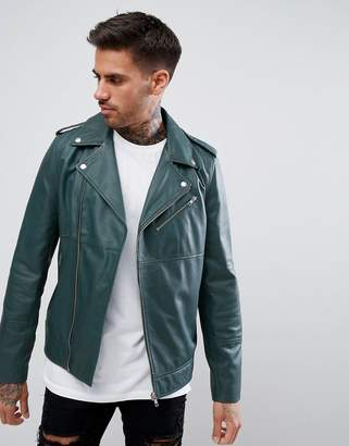 Asos DESIGN leather asymmetric biker jacket in bottle green
