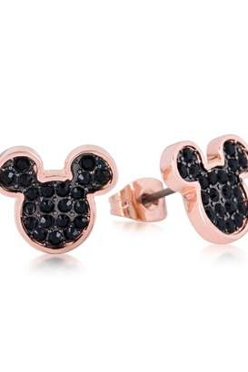 Disney Mickey Mouse Anniversary Black Crystal Stud Earrings Dre386