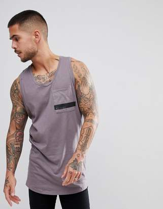 Religion Longline Tank In Gray With Curved Hem And Printed Pocket