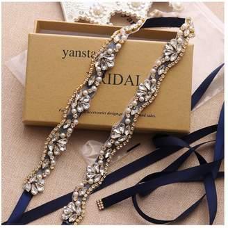 Yanstar Rose Gold Crystal Wedding Bridal Belts Ivory Sash Belt For Wedding Bridesmaid Dress