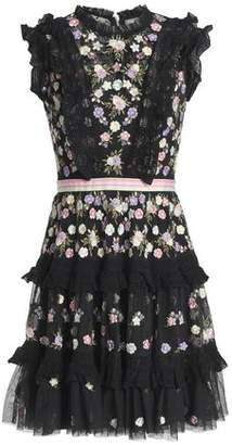 Needle & Thread Floral-Appliquéd Ruffle-Trimmed Tiered Tulle Mini Dress