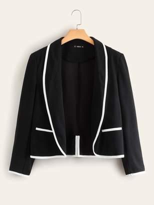 Shein Plus Contrast Piping Trim Slit Back Blazer