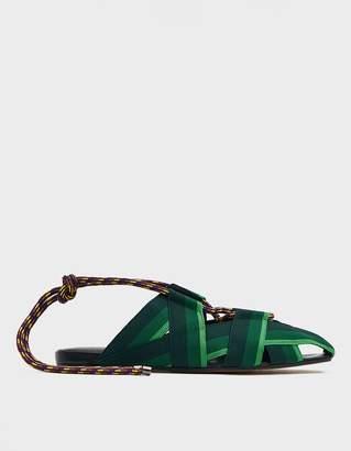 Dries Van Noten Lace-Up Sandal in Green