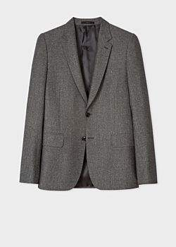 Paul Smith Men's Tailored-Fit Grey Tweed Wool And Silk-Blend Blazer