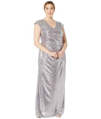 Adrianna Papell Plus Size Cap Sleeve Sequin Mermaid Evening Gown