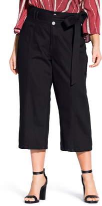 City Chic Classic Tie Waist Crop Jeans