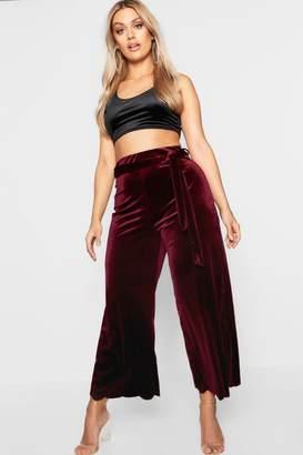 boohoo Plus Velvet Tie Belt Scallop Culottes