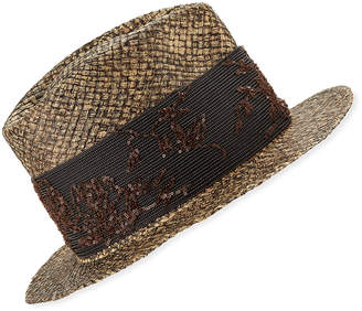 Brunello Cucinelli Monili-Wrapped Straw Fedora Hat